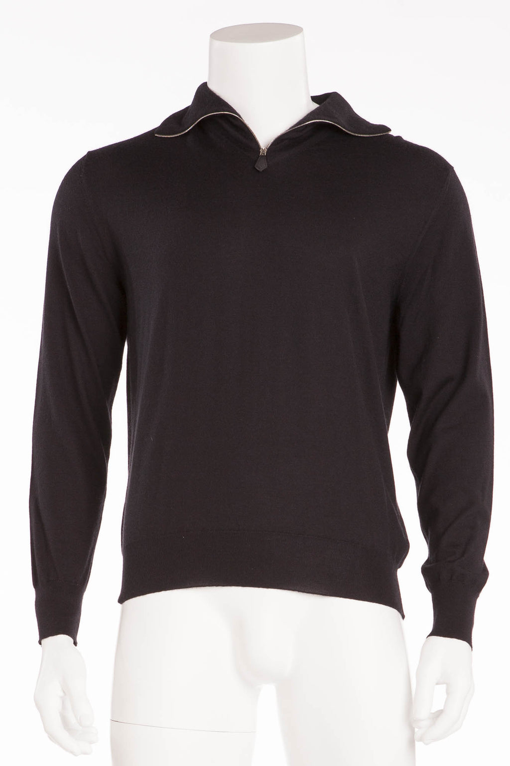 Authentic Hermes - Black Long Sleeve Zip Neck Cashmere - XL