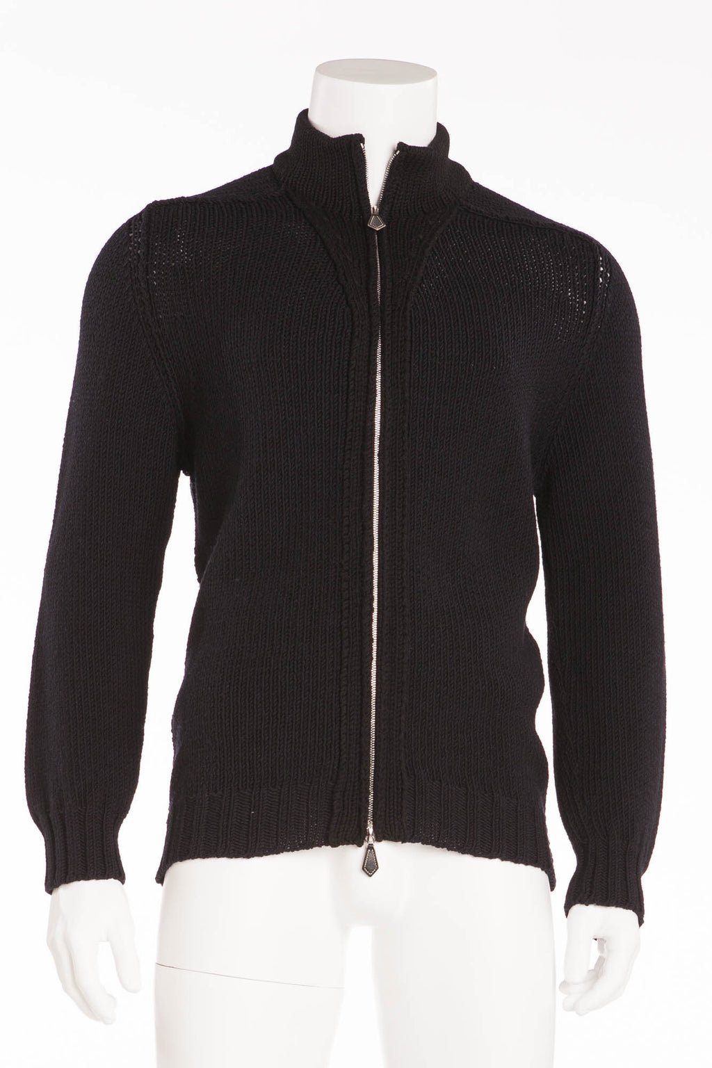 Authentic Hermes - Black Long Sleeve Zip Up Sweater - XL