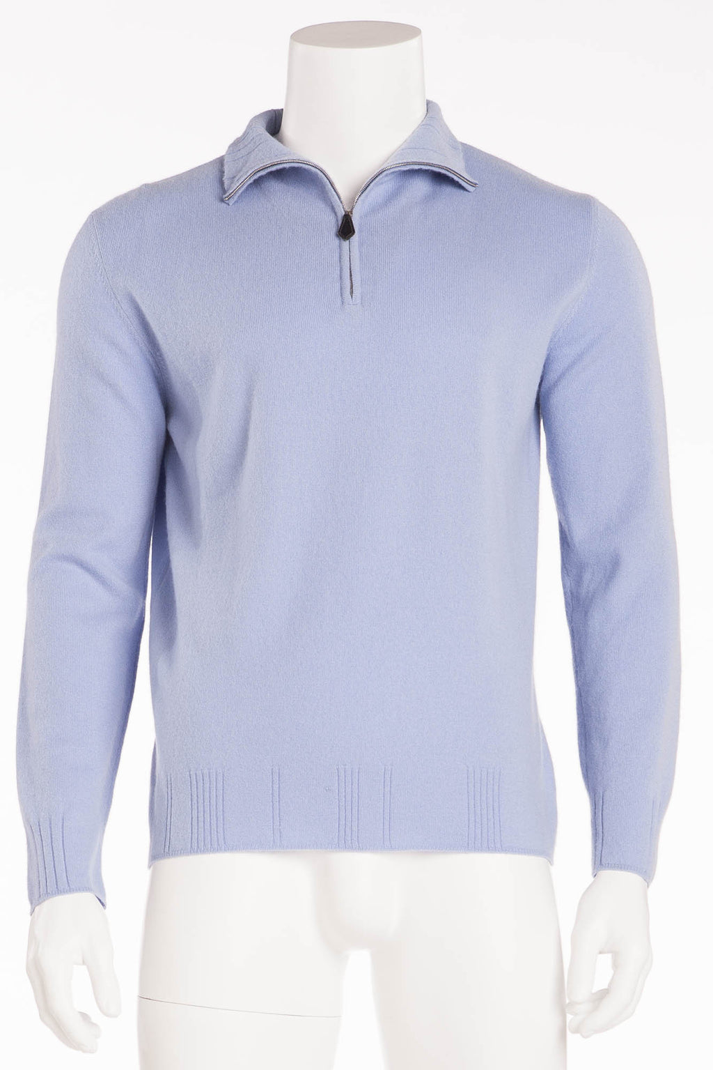 Authentic Hermes - Sky Blue Zip Neck Sweater - XL