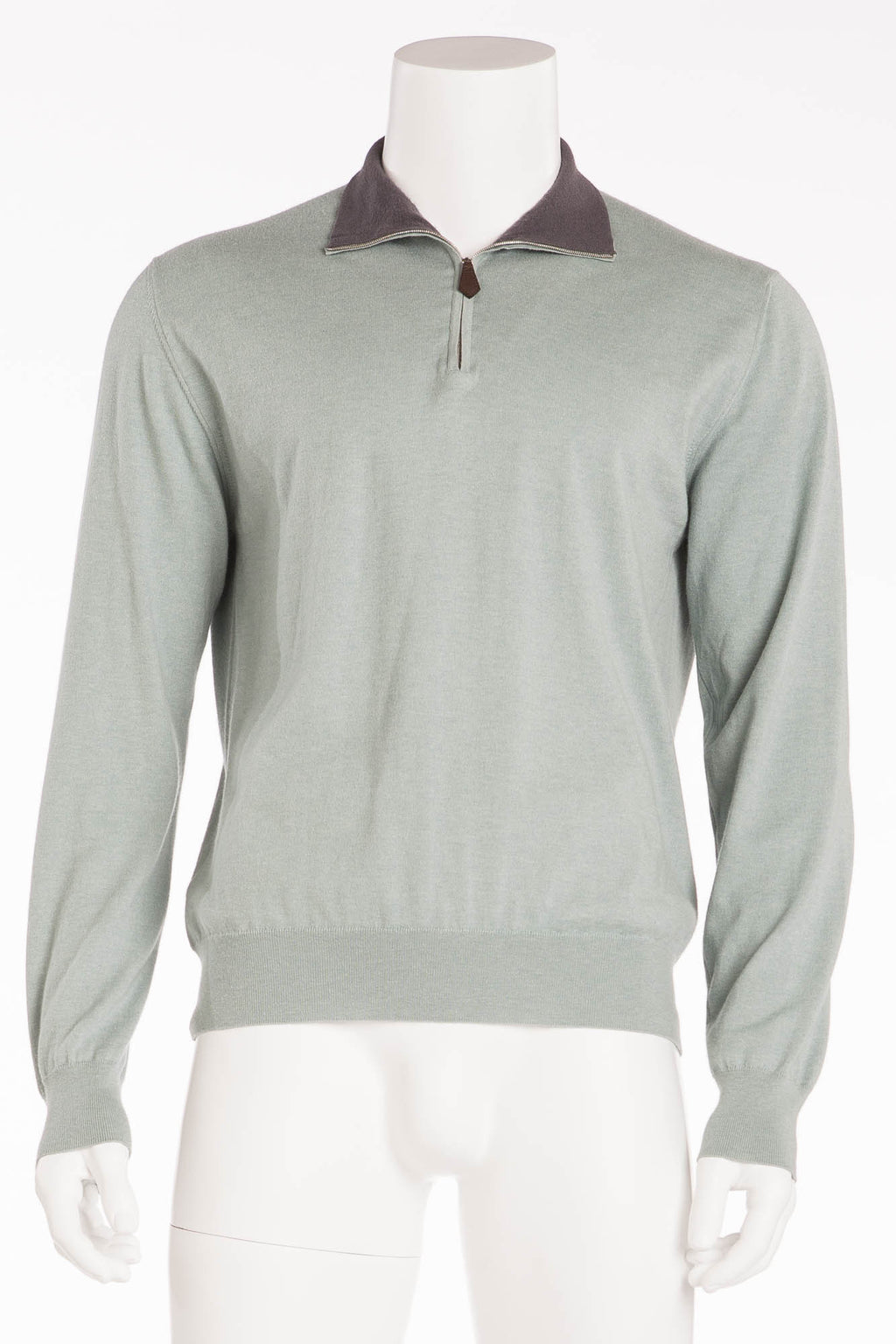 Authentic Hermes - Green Zip Neck Cashmere Sweater Grey Collar - XL