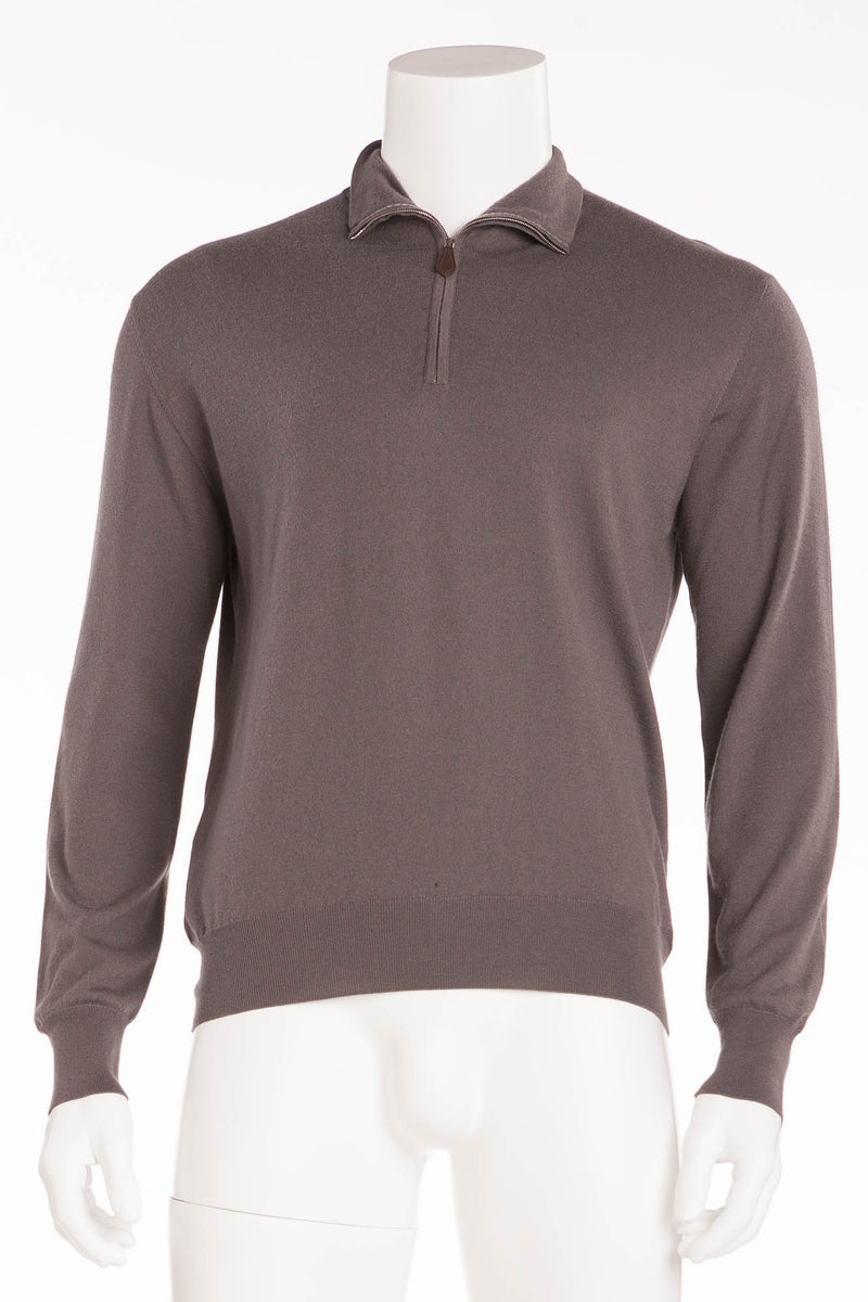 Hermes - Long Sleeve Grey Zip Neck Cashmere Sweater - XL