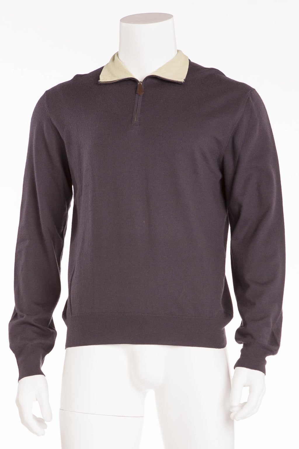 Hermes - Cashmere Zip Neck Sweater with Green Inner Collar - XL