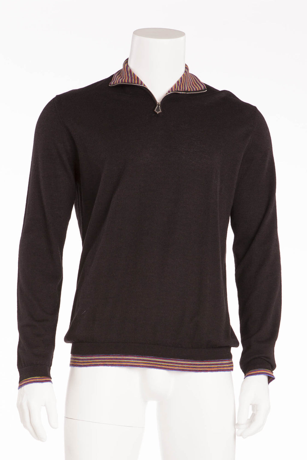 Authentic Hermes - Black Zip Neck Sweater with Multicolor Stripes on Inner Collar - XL