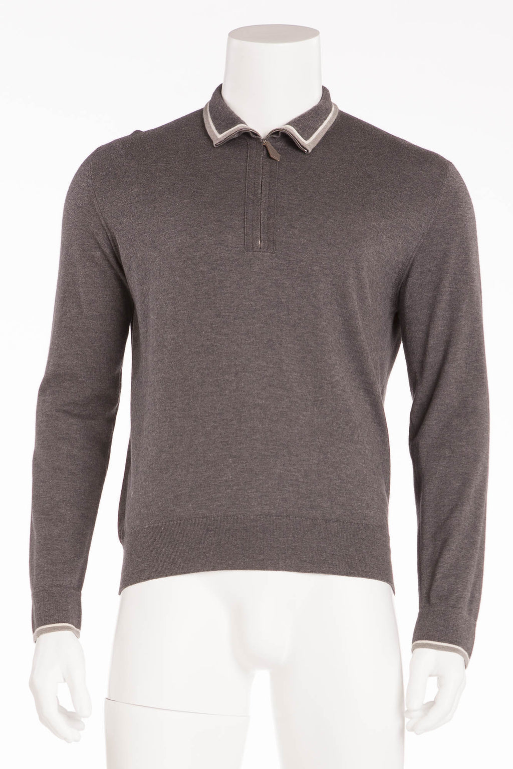 Hermes - Long Sleeve Grey Zip Neck Sweater - L