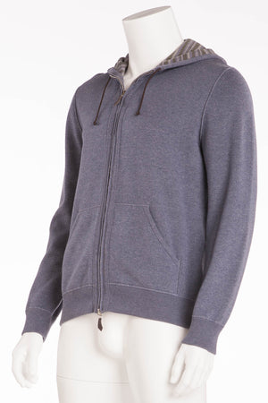 Authentic Hermes - Long Sleeve Hooded Zip Up Grey Blue - L