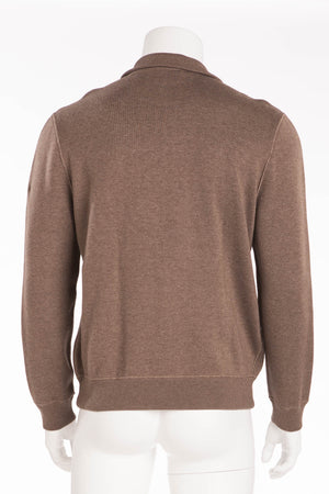 Hermes - New with Tags Brown Long Sleeve Reversible Zip Up Sweater - Large