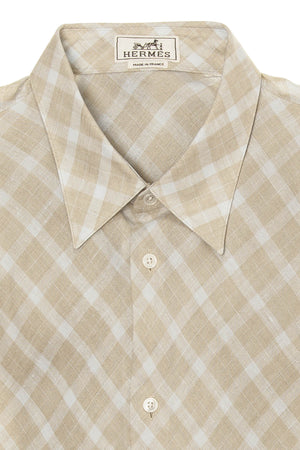 Authentic Hermes - Beige and Blue Plaid Men's Dress Shirt - IT 43