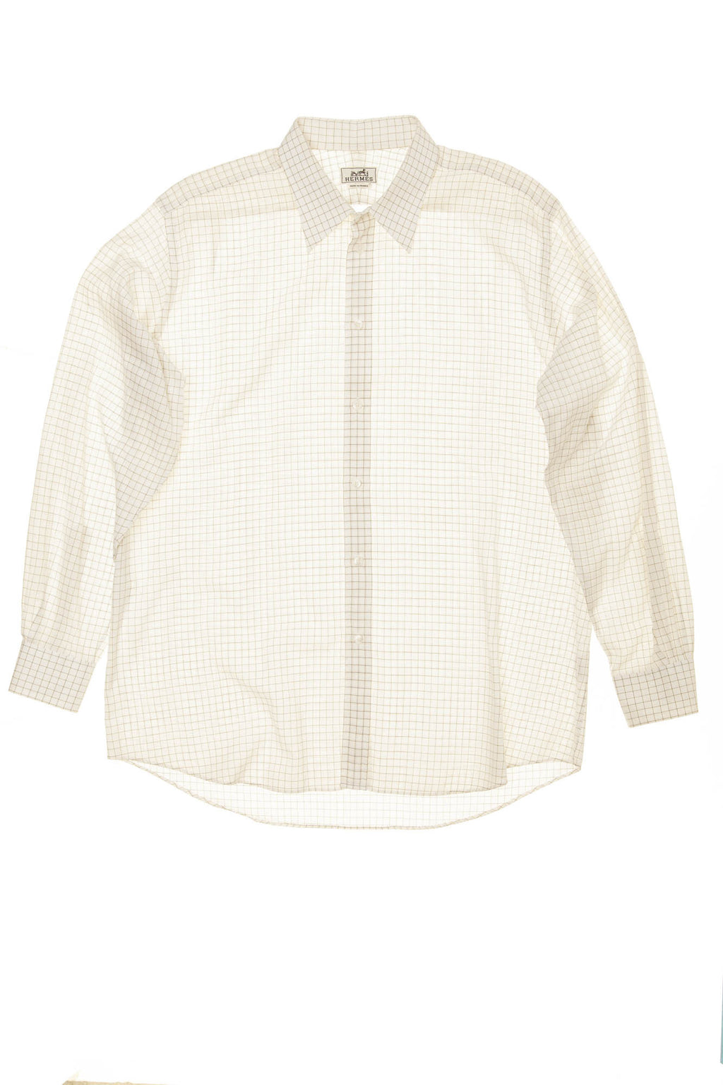 Hermes - White Collared Checkered Men's Button Up Dress Shirt - IT 44