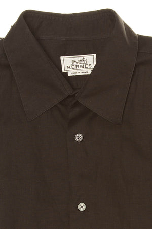 Authentic Hermes - Black Short Sleeve Button Up - IT 42
