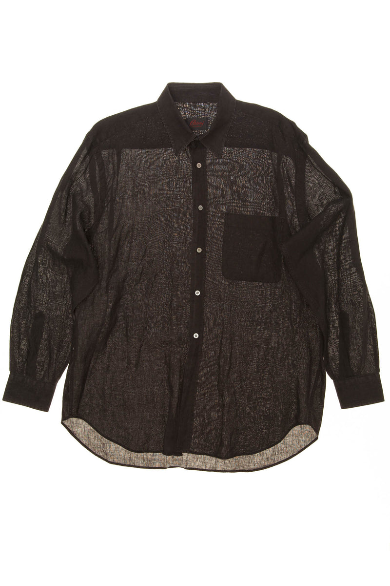 Brioni - Black Linen Men's Button Up Dress Shirt - L