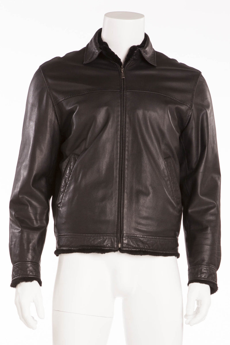 Brioni - Black Leather Zip Up Jacket  -