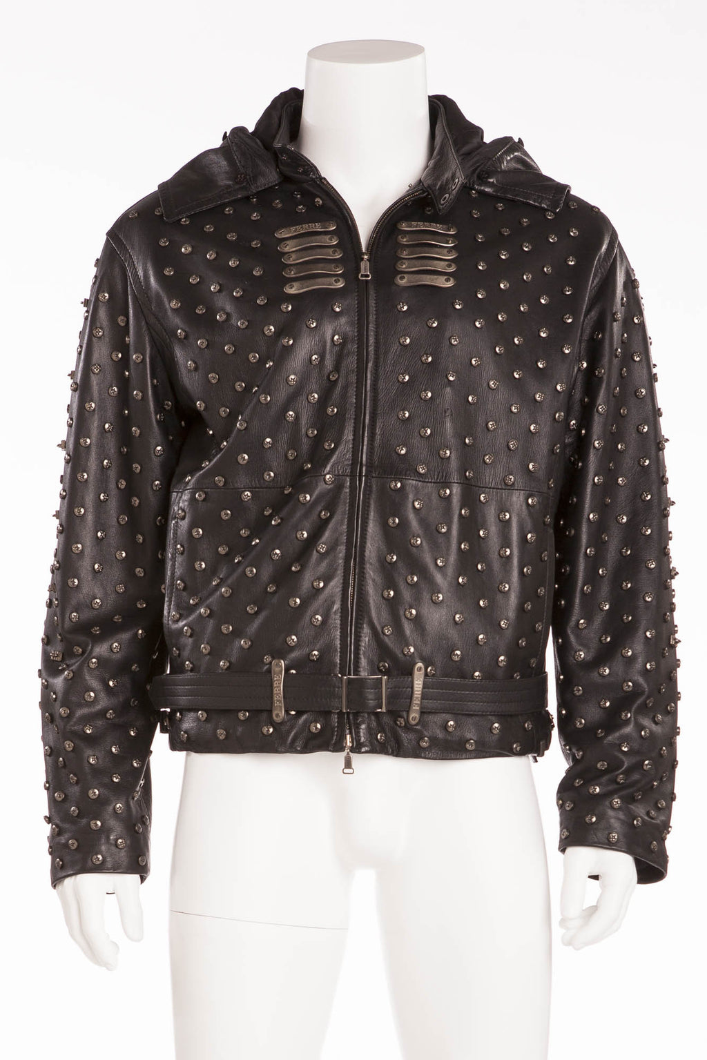 Gianfranco Ferre - Black Leather Screw Embellishment Zip Up Jacket - IT 54