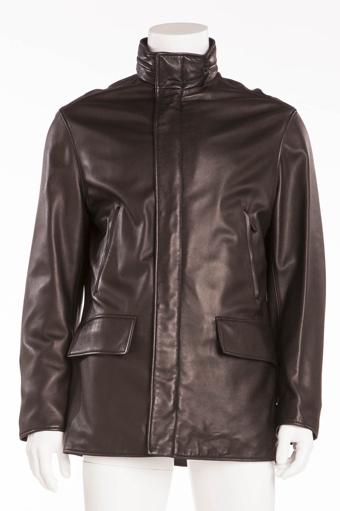 Authentic Hermes - Black Leather Zip Up Jacket - IT 54