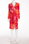 Versace - Iconic Red Draped Pink Floral Dress - IT 40