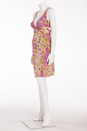Versace - Lime and Pink Cut Out Dress - IT 42
