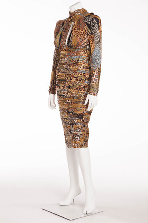 Versace - Long Sleeve Brown and  Pale blue Dress with Open Back - IT 40