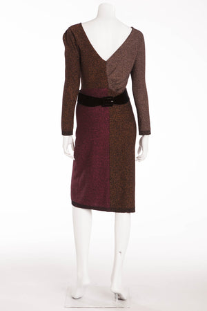 Sonia Rykiel - As Seen on the 2009 Runway Collection - Brown and Red Long Sleeve Metallic Dress with Belt - FR 38