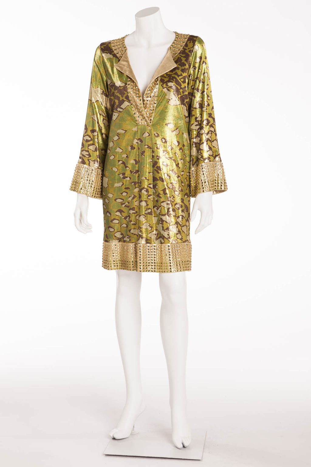 Diane Von Furstenburg - Green Metallic Leopard Green Print Rhinestone Dress  - US 6