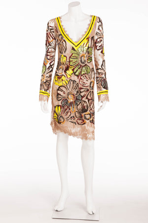 Blumarine - Long Sleeve Embellished Nude Dress - IT 42