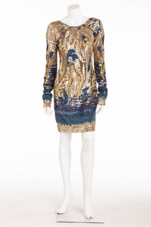 Emillio Pucci - Featured on Cover of Vogue - Gold and Blue Long Sleeve Embellished Open Back Dress - IT 42