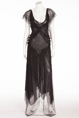 Blumarine - Editorial, Black Lace Long Dress with Sequins and Fringe - IT 42