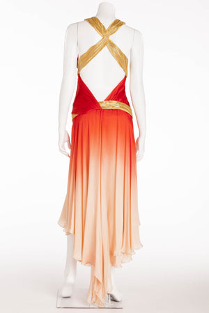 Roberto Cavalli - As Seen on the 2006 Spring Runway Collection - Red and Coral Ombre Dress with Gold Embellishments - IT 40