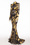 Roberto Cavalli - Editorial, As Seen on Victoria Beckham and Bar Refaeli - Iconic Long Black Dress Oriental Style Gown with Yellow Flowers - IT 40