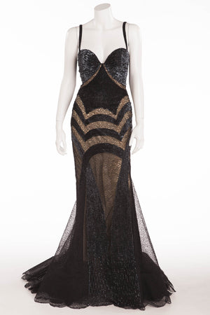 Roberto Cavalli - As Seen On Christina Aguilera - Black Beaded Dress Embellished with Lace - IT 42