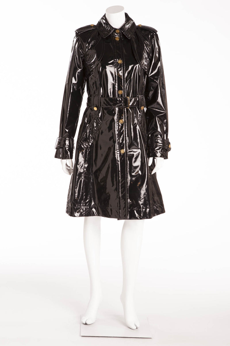 Roberto Cavalli - Black Patent Long Sleeve Coat with Tie Waist - IT 42