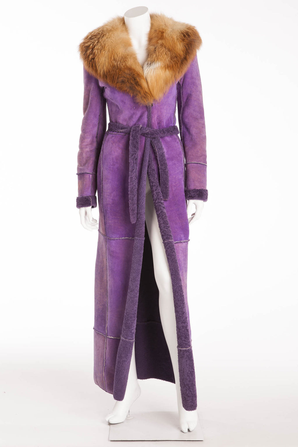Dolce & Gabbana - Purple Shearling Coat with Fox Fur Collar - IT 40