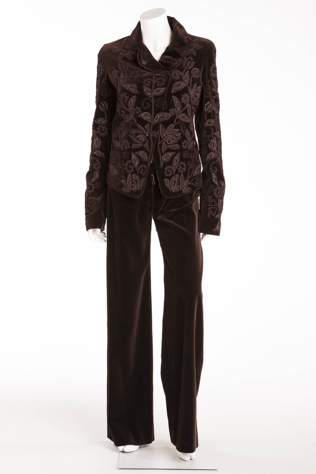 Chloe - As Seen on the 2002 Runway Collection - Brown Velvet Jacket and Pants - FR 38