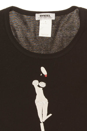 Sonia Rykiel - Black 3/4 Sleeve Graphic Tee Shirt - S -