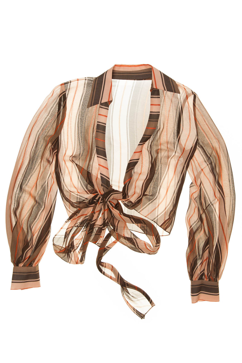 Caroline Herrera - Peach Brown Stripe Chiffon Tie Blouse -