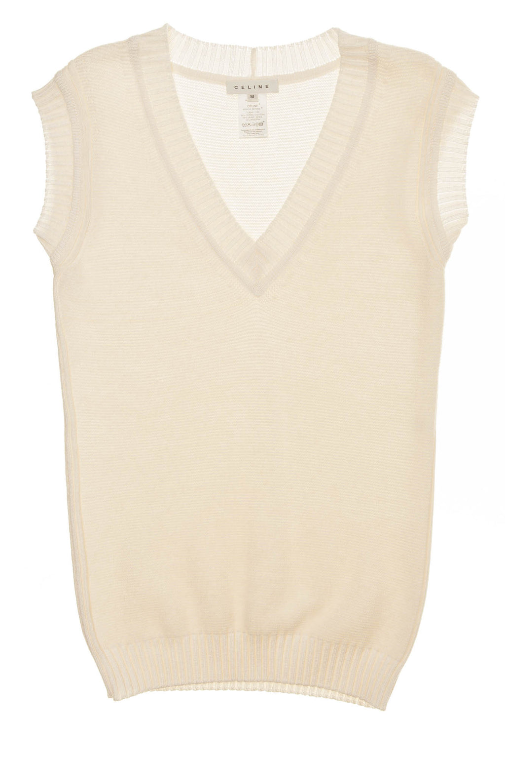 Celine - White Sleeveless Knit Sweater - M
