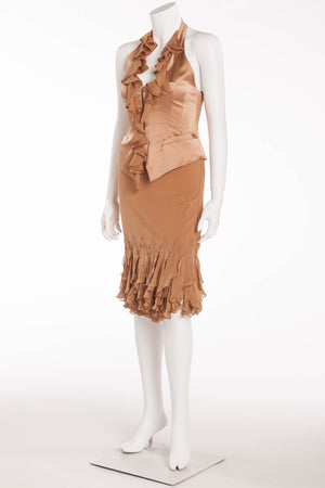 Roberto Cavalli - 2PC Taupe Satin Bustier and Skirt with Ruffles - S