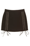 Dolce & Gabbana - Black Lace Up Mini Skirt with Leather Trim - IT 40