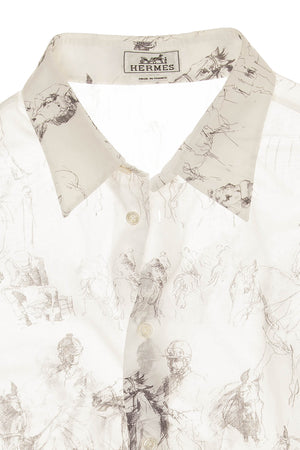Hermes - Men's White Button Up Shirt with Horse Drawings - IT 42