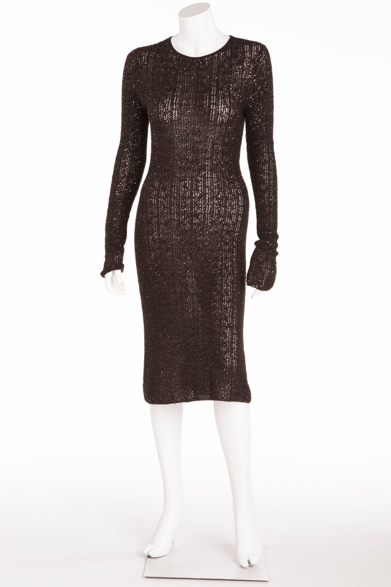 84485e2f61ba Donna Karan - Black Long Sleeve Knitted Dress with Sequins - – LUXHAVE