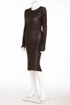 Donna Karan - Black Long Sleeve Knitted Dress with Sequins -