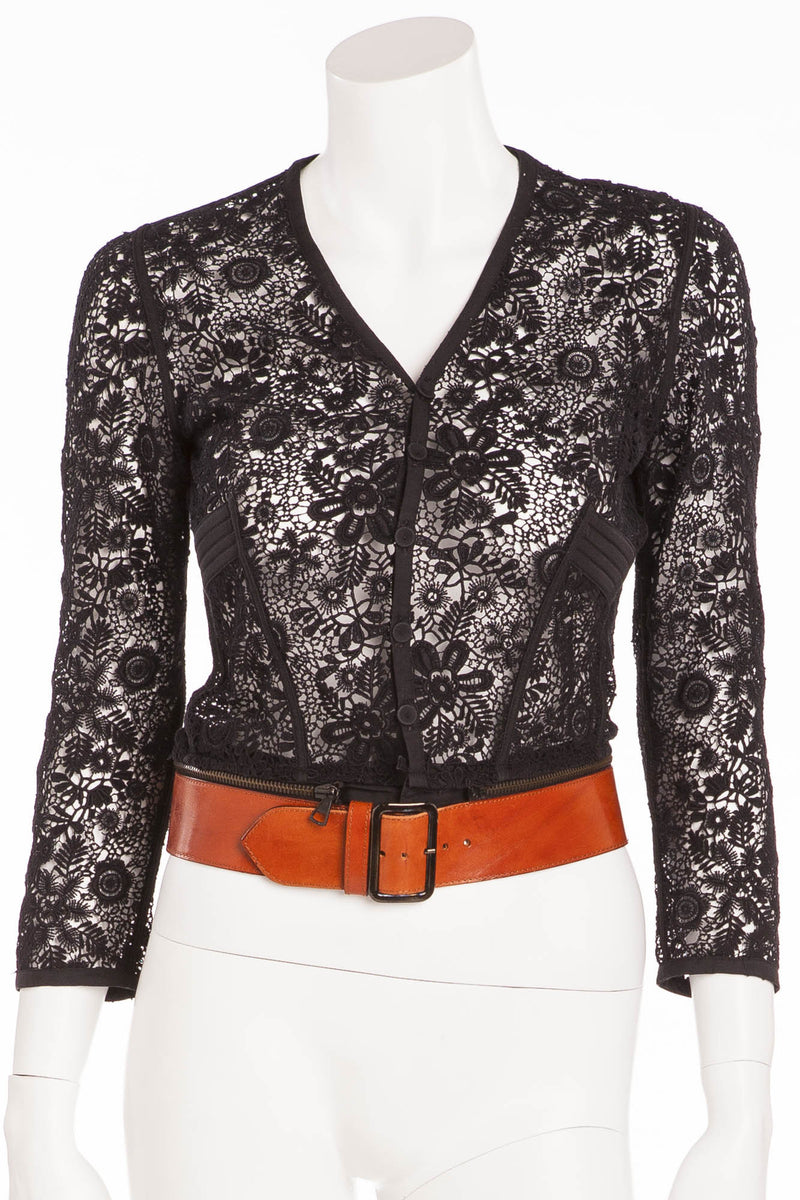 Jean Paul Gaultier - Black 3/4 Sleeve Lace Cardigan with Brown Belt - IT 40