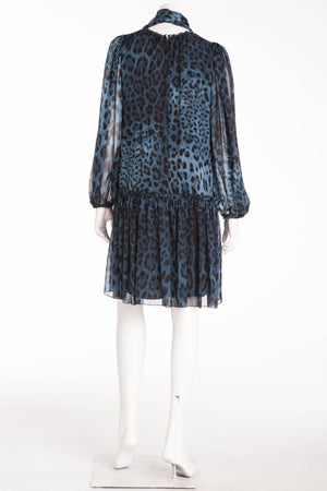 Dolce & Gabbana - Blue and Black Long Sleeve Leopard Dress - IT 42