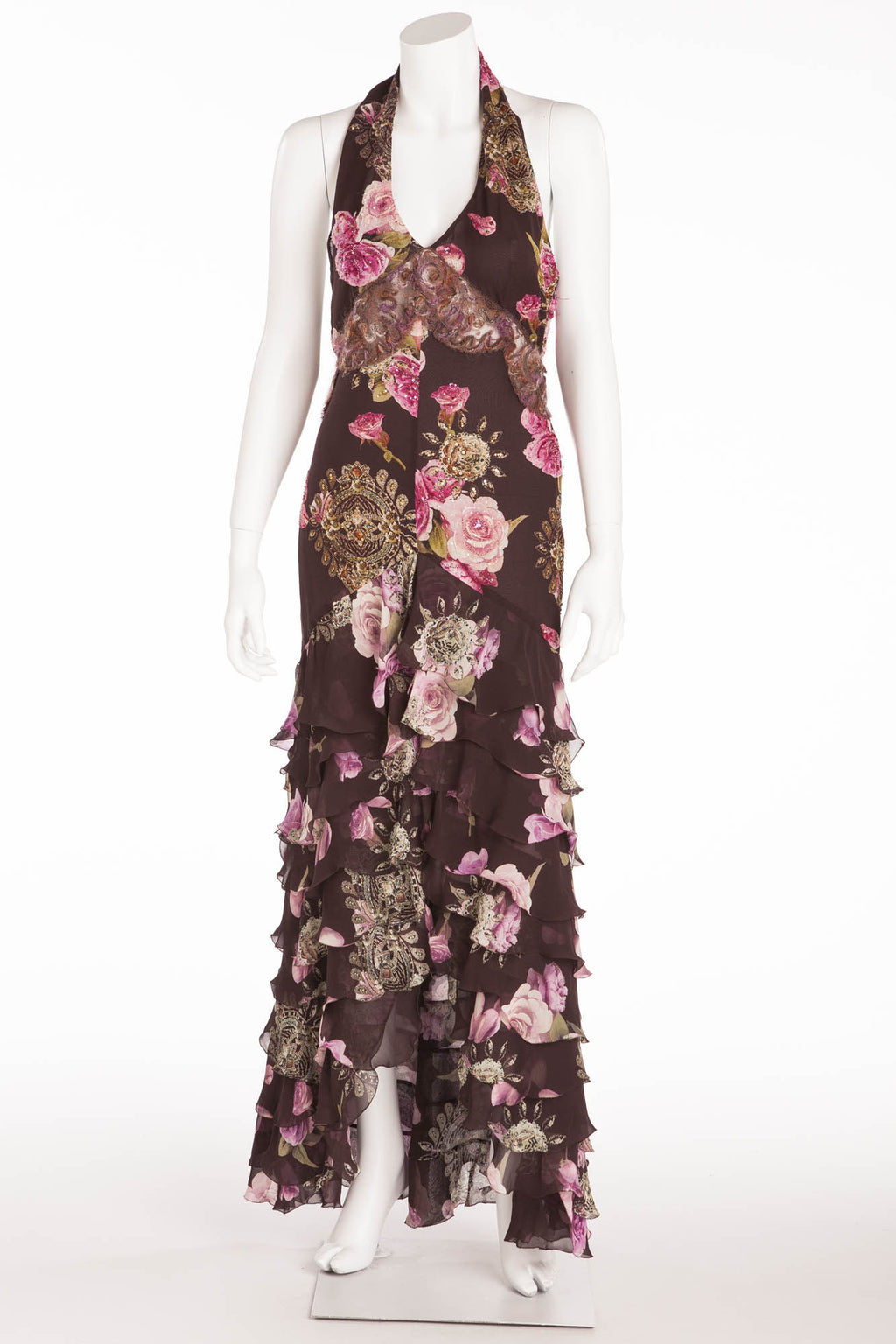 Ungaro - Long Brown Floral Print Halter Dress -