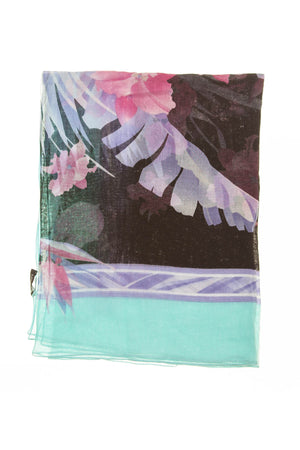 Leonard - Blue Border with Pink Flowers Scarf - One Size