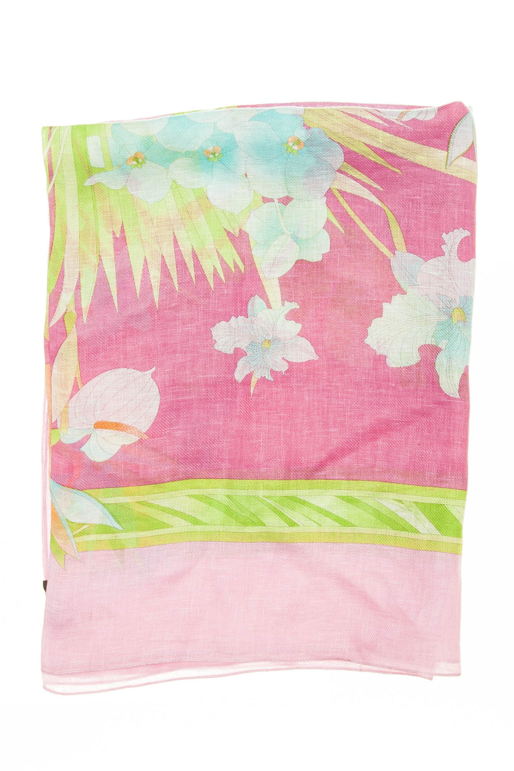 Leonard - Pink Scarf With Blue Flowers - One Size