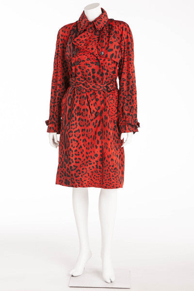 Dolce & Gabbana - Brand New with Tags Red Leopard Trench Coat - IT 42