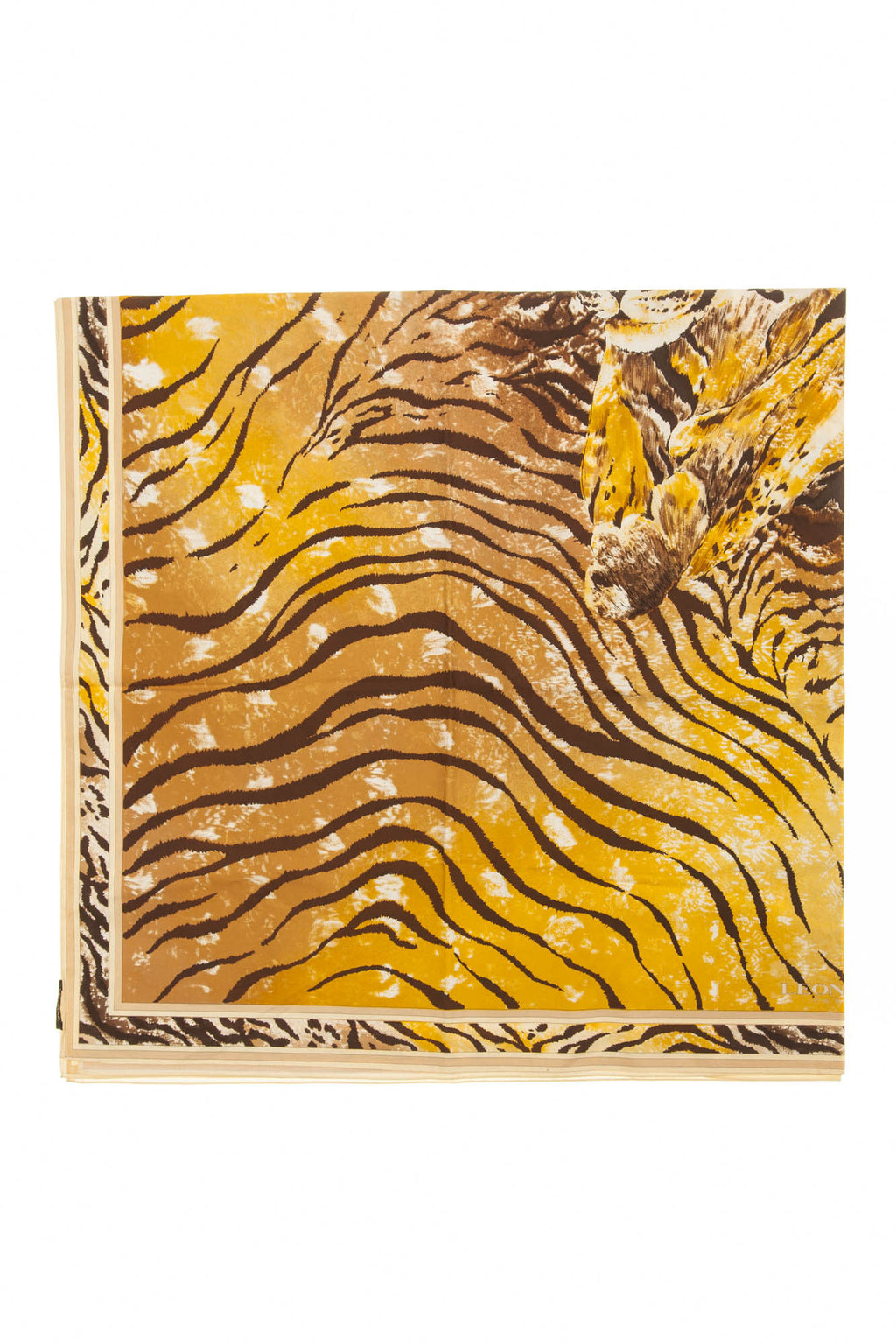 Leonard - Brown and Gold Tiger Print Scarf - One SIze