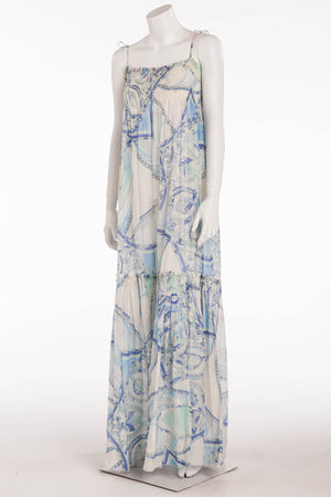 Emilio Pucci - Long Blue Print Spaghetti Strap Dress -