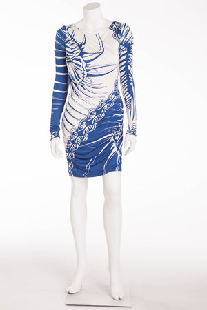 Emilio Pucci - Blue and White Print Long Sleeve Dress - IT 38