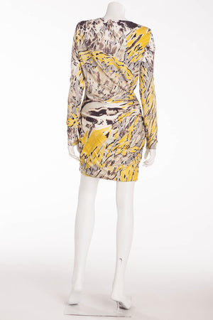 Emilio Pucci - Yellow and Gray Print Dress Long Sleeve - IT 42