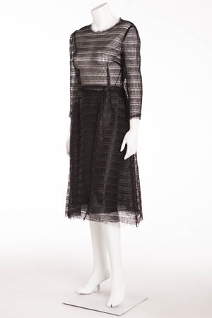 Dolce & Gabbana - NWT Raffia-Effect Embroidered Tulle Dress - IT 42